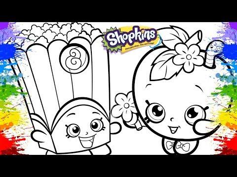 Jogos de meninas - Pintura Shopkins Apple blossom Poppy corn Coloring Shopkins with markers Pintar desenhos animados
