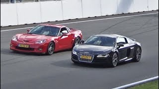 In today's video: Two stunning red Corvettes (one C6 and one C7) having some fun at Zandvoort race circuit (The Netherlands). They were doing some high speed passes on the straight of the race track, along with other supercars like the Audi R8 and Lamborghini Aventador. The V10 R8 clearly did not have enough power to keep up with the C6 Vette.Event: Vredestein Supercar Sunday 2017 (Zandvoort, The Netherlands)