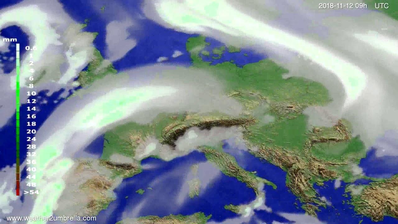 Precipitation forecast Europe 2018-11-08