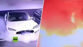 Un Tesla explota en un aparcamiento en China