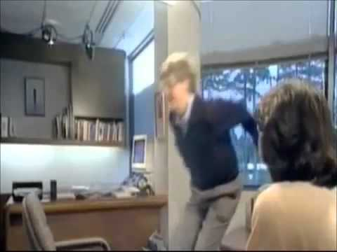 Bill Gates jumps over a chair...