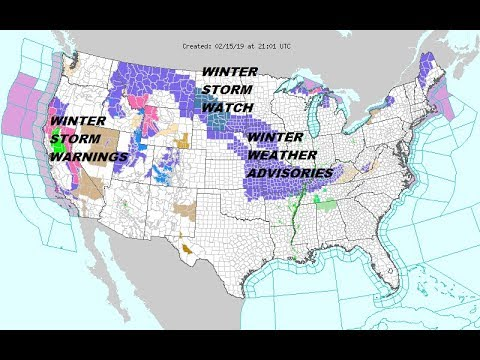 Winter Storm Warnings Continue Western US, Winter Weather Advisory Plains Rockies Lower Ohio Valley