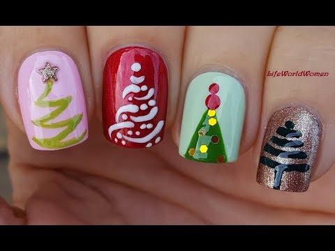 Nail designs - 4 CHRISTMAS TREE NAIL ART DESIGNS / Cute Nails For Holidays