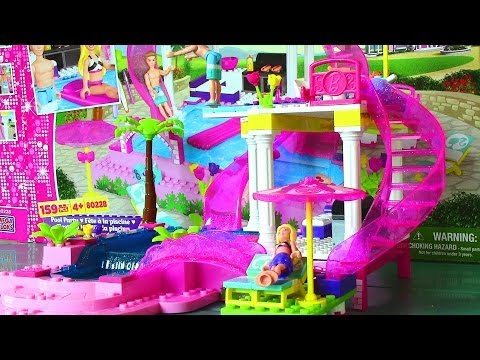 Mega Bloks Barbie Pool Party with Barbie Doll and Ken Doll – Life in a Dream House