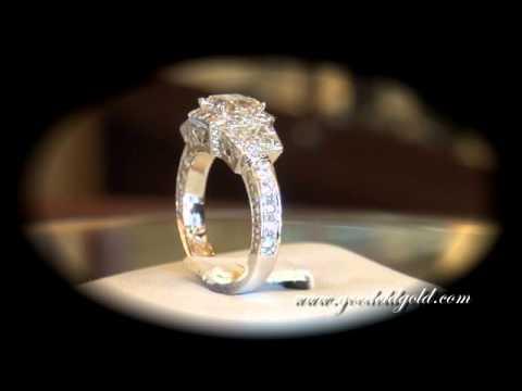 Custom made Engagement Ring with Custom Cut Radiant Cut