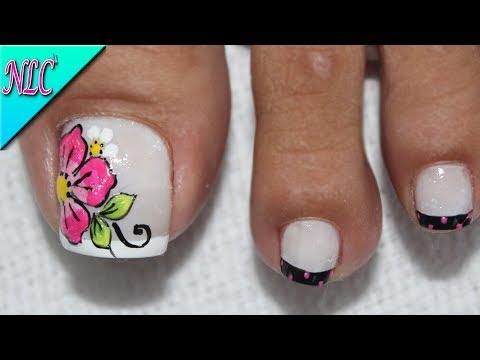 Diseños de uñas - DISEÑO DE UÑAS PARA PIES FLOR Y FRANCÉS ¡MUY FÁCIL! - FLOWER NAIL ART - NLC