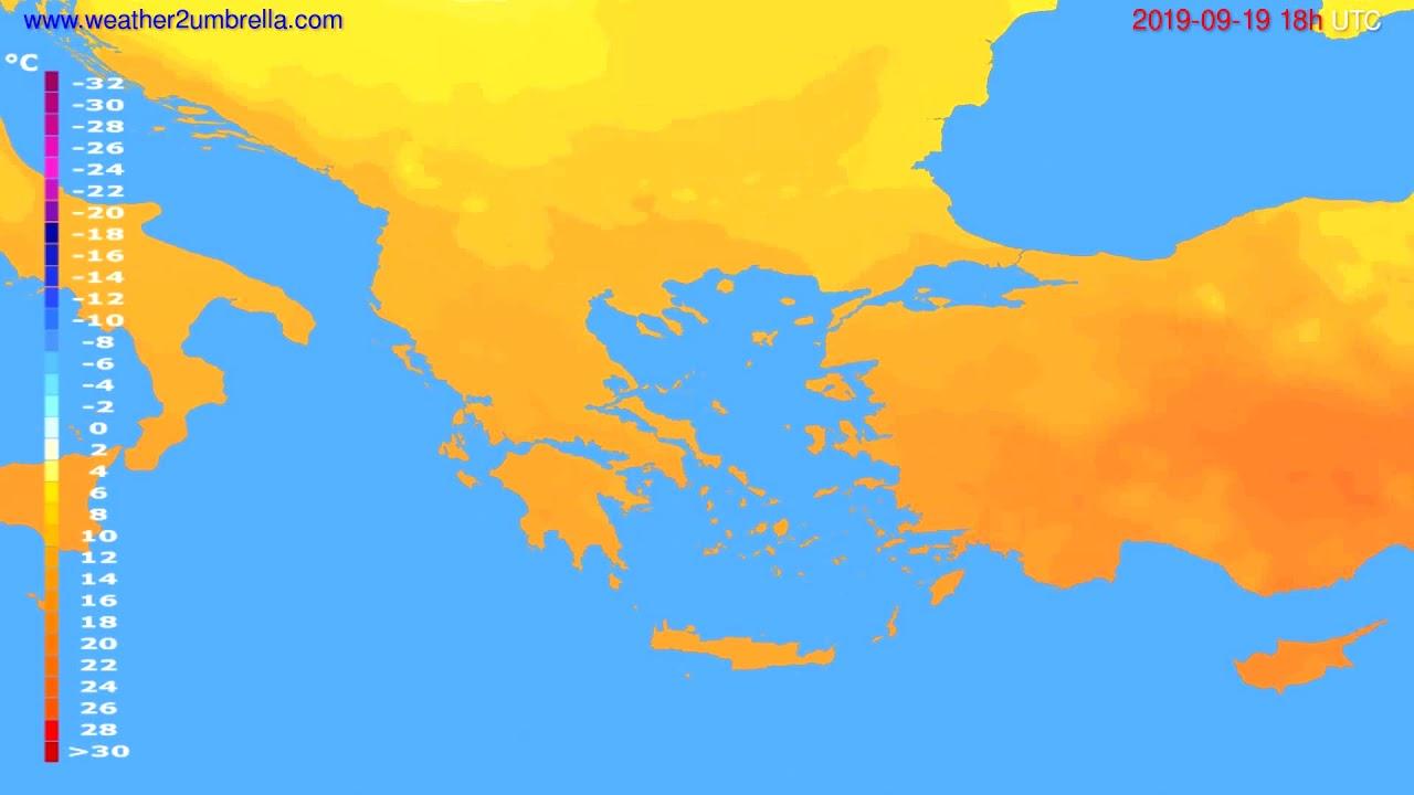 Temperature forecast Greece // modelrun: 12h UTC 2019-09-17