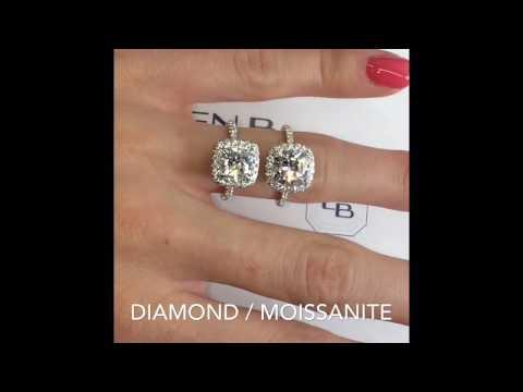 Moissanite VS Diamond: Cushion Halo Rings