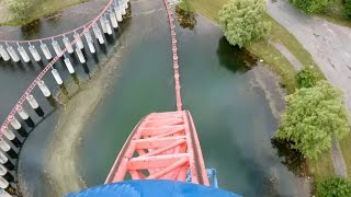 Ride of SteelDarien Lake (Darien Center, New York, USA)Operating since 5/15/1999Roller CoasterSteelSit DownExtremeMake: Intamin Amusement RidesModel: Other / Mega CoasterStatisticsLength: 5,400 ftHeight: 208 ftDrop: 205 ftInversions: 0Speed: 73 mphDuration: 2:02Max Vertical Angle: 68°Elements: Chain Lift HillDetailsFormer names: Superman - Ride Of Steel (1999 to 2006)Categories: MirrorCost: $12,000,000 USDDesigner: Ing.-Büro Stengel GmbHTrains: 2 trains with 8 cars per train. Riders are arranged 2 across in 2 rows for a total of 32 riders per train.Built by: Intamin Amusement RidesNotes: This roller coaster is a mirror image of the Superman - Ride Of Steel at Six Flags America.