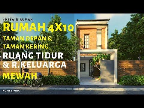 Home Living - Desain Rumah Minimalis 4x10 (Compact House)   Casa 4x10