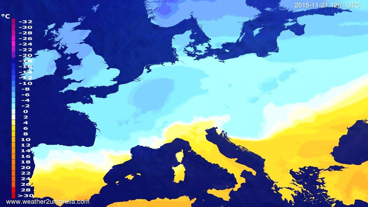 Temperature forecast Europe 2015-11-19
