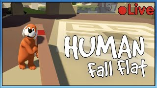 Human Fall Flat - W/Squid - 🔴 Live by Stampy