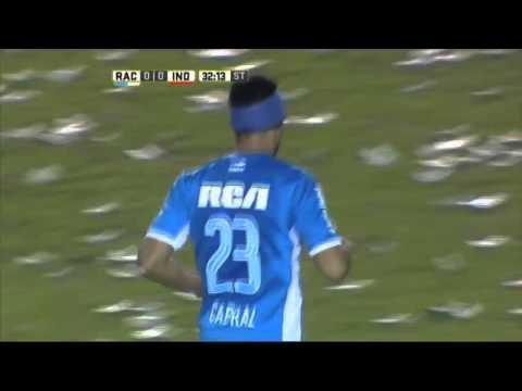 Cabral se animó de volea. Racing 0 - Independiente 0. Fecha 12. Primera División 2016.