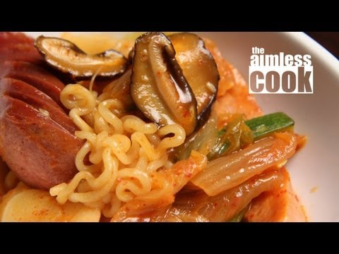 Korean Budae Jjigae – Army Camp Stew with Noodles, Spam, Sausages, etc..