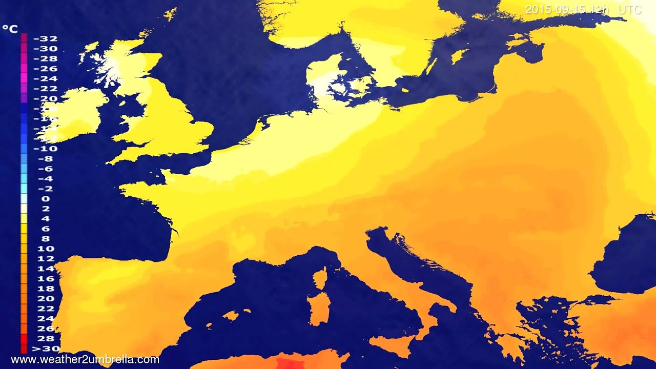 Temperature forecast Europe 2015-09-13