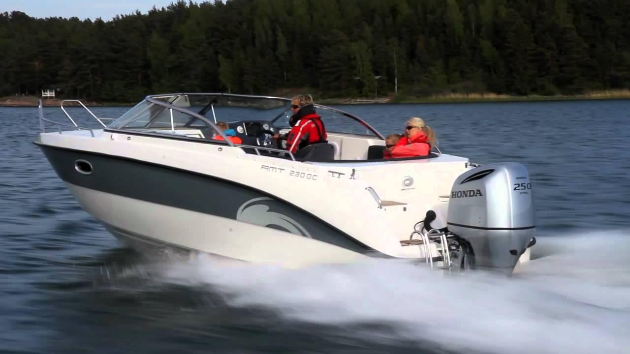 Моторный катер с каютой AMT 230 DC на воде, видеообзор