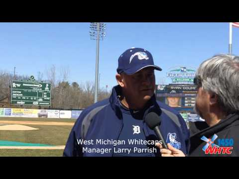 New West Michigan Whitecaps Manager Larry Parrish talks with WHTC News Director Gary Stevens at Fifth Third Ballpark on Apr. 3, 2013, a day before the team's season opener against visiting Dayton.