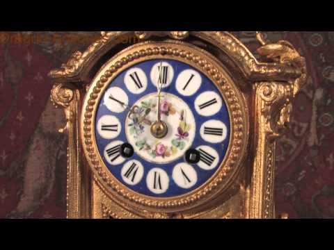 Japy Freres Blue Sevres Porcelain and Gilt Metal Boudoir Clock HD