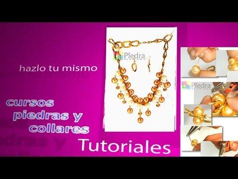 abalorios collar con tubos plateados y perlas youtube