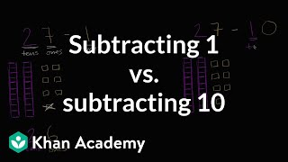 Sal talks about the difference between subtracting 1 and subtracting 10.Watch the next lesson: https://www.khanacademy.org/math/cc-2nd-grade-math/cc-2nd-add-subtract-100/cc-2nd-sub-ones-tens/v/understanding-place-value-while-subtracting-ones?utm_source=YT&utm_medium=Desc&utm_campaign=2ndgradeMissed the previous lesson? https://www.khanacademy.org/math/cc-2nd-grade-math/cc-2nd-add-subtract-100/cc-2nd-add-ones-tens/v/understanding-place-value-when-adding-ones?utm_source=YT&utm_medium=Desc&utm_campaign=2ndgrade2nd grade on Khan Academy: Learn to see three-digit numbers as hundreds, tens, and onesAbout Khan Academy: Khan Academy is a nonprofit with a mission to provide a free, world-class education for anyone, anywhere. We believe learners of all ages should have unlimited access to free educational content they can master at their own pace. We use intelligent software, deep data analytics and intuitive user interfaces to help students and teachers around the world. Our resources cover preschool through early college education, including math, biology, chemistry, physics, economics, finance, history, grammar and more. We offer free personalized SAT test prep in partnership with the test developer, the College Board. Khan Academy has been translated into dozens of languages, and 100 million people use our platform worldwide every year. For more information, visit www.khanacademy.org, join us on Facebook or follow us on Twitter at @khanacademy. And remember, you can learn anything.  For free. For everyone. Forever. #YouCanLearnAnythingSubscribe to Khan Academy's 2nd grade channel: https://www.youtube.com/channel/UCNKAFuuw3dpsiSl9n90zgvw?guided_help_flow=3?sub_confirmation=1Subscribe to Khan Academy: https://www.youtube.com/subscription_center?add_user=khanacademy