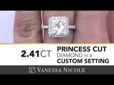 2.41ct PRINCESS CUT DIAMOND RING | Over 2ct Princess Cut Diamond Halo Ring for Jackie