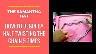 Here I demonstrate how to twist the chain 5 half times and crochet the chain. This is for the Samantha crochet beanie hat pattern https://www.etsy.com/listin...