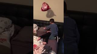 My little brother woke my little sister up with Valentine's Day gifts