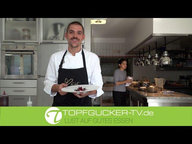 Carpaccio von der Jakobsmuschel   rote Bete   Korallencreme   Louis Linster quats)    Kartoffelrisotto   Topfgucker-TV