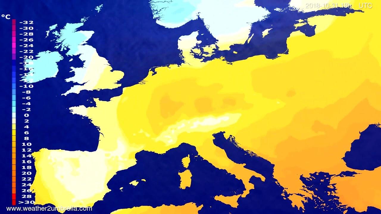 Temperature forecast Europe 2018-10-28
