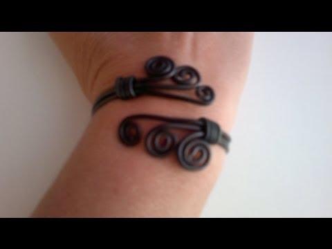 DIY:Como hacer brazalete pulsera con alambre de aluminio .