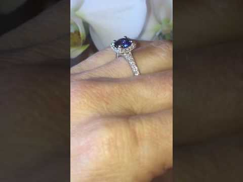 SAPPHIRE AND DIAMONDS HALO ENGAGEMENT RING BIRTHSTONE RING