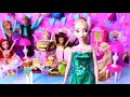 Elsa Birthday Party! Play Baby Dolls Barbie Anna, Rapunzel cooking cake  DIY Dollhouse Decoration