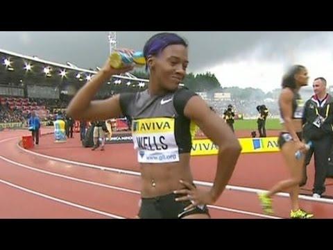 Kellie Wells upsets Pearson in 100m hurdles at 2012 London Diamond League