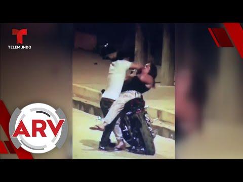 Hombre ataca a su pareja a puños y la mujer lo sorprende con su defensa | Al Rojo Vivo | Telemundo