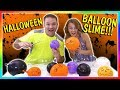 Making Spooky Balloon Slime Halloween Challenge We Are