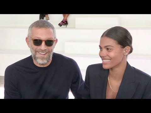Newly wed Vincent Cassel and Tina Kunakey front row for the Roberto Cavalli Show