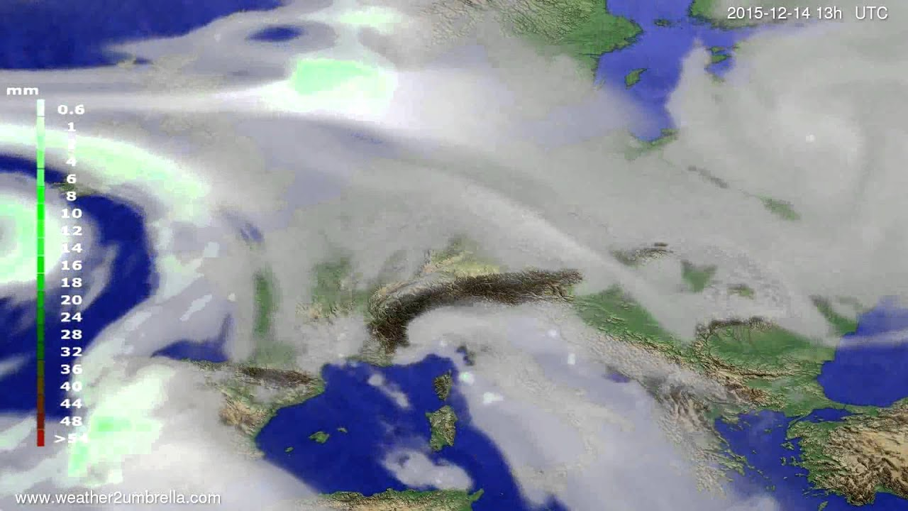 Precipitation forecast Europe 2015-12-11