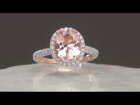 Oval Morganite & Pave' Diamond Ring, 1.80 cts 14K Gold on QVC