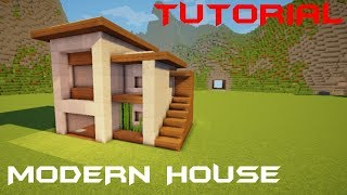 Minecraft: How to Build a Small Modern House Tutorial + Interior (#19)