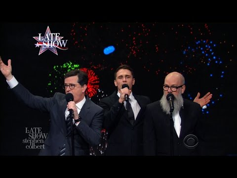 Stephen Colbert James Franco and REM s Michael Stipe Sing a 2016 Edition of It s the End of the World as We Know