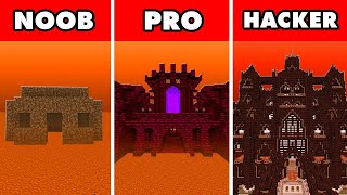 Noob vs. Pro vs. Hacker : NETHER SAFE HOUSE BUILD CHALLENGE! In Minecraft Animation