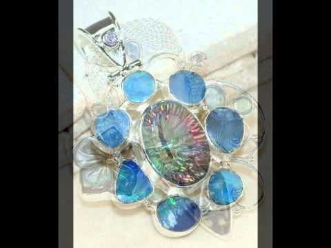 Collection of 925 Sterling Silver Pendants with Natural Gemstones - 4