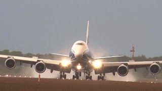 B747-8 ABCargo floats above the runway just before touchdown the wind lets the plane drift to the left. Pilot corrects it after touchdown.This video is filmed on the 29th of May 2015 at the Poldebaan this is a re upload from my other channel schipholhotspot[runway] at around 2130 hour just before sunset after a big thunder storm a few minuts ago.Thanks for watching i do hope you enjoyed the video if  so do not forget to rate, comment or share. many thanks Schipholhotspot.-----------------------------------------------------------------------------------------------------------To use this video in a commercial player or in broadcasts, please email licensing@storyful.com -------------------------------------------------------------------------------------------------------http://www.planespotters.net/Production_List/Boeing/747/37670,VQ-BRJ-AirBridgeCargo.phpVQ-BRJ AirBridgeCargo Boeing 747-8F - cn 37670 / ln 1482Construction Number (MSN)   37670Line Number                                    1482Aircraft Type *                                Boeing 747-8FFirst Flight *                                   Jul 2013Age                                                    1.9 YearsTest registration                             N959BAAirframe Status                              Activere upload form Schipholhotspot