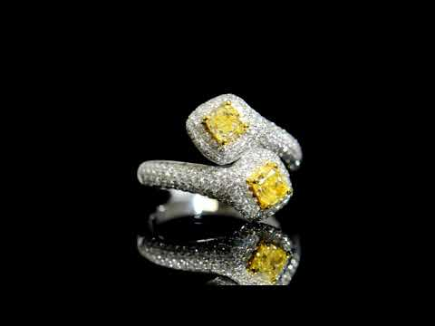 Lady's 18k White/Yellow Gold Fancy Yellow Diamond Crossover Design Ring
