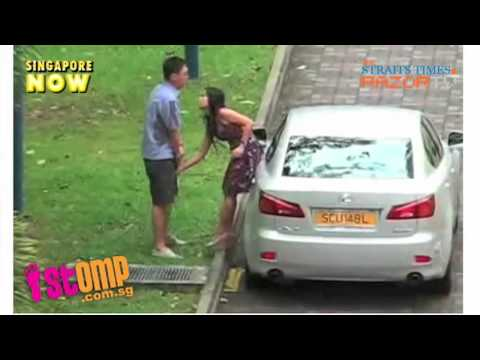 Girl attacks BF in the groin over and over again - and he just stands there and takes it