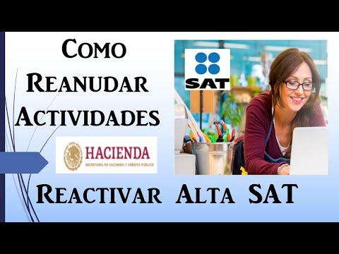 Reanudación de Actividades o Reactivar Alta en el SAT 2020