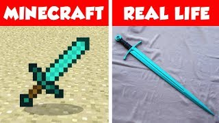 MINECRAFT DIAMOND SWORD IN REAL LIFE! Minecraft vs Real Life animation CHALLENGE