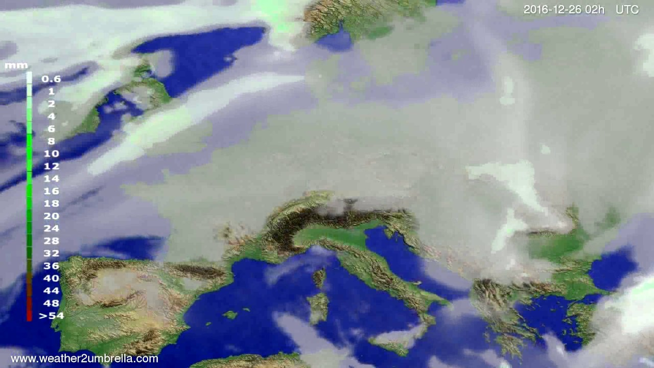 Precipitation forecast Europe 2016-12-22