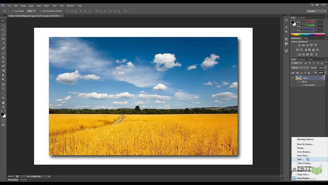 how to add drop shadow in photoshop cs6