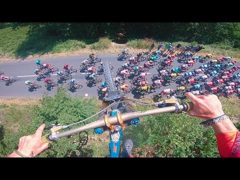 Guy Jumps Over Tour De France Bikers